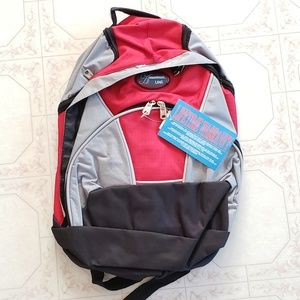 NWT New Red Gray Black Multiple Pocket Backpack